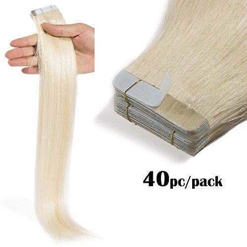 TESS Tape Extensions Echthaar Klebeband günstig Haarverlängerung Remy Tape in Human Hair Extensions 40 Tressen x 4 cm 100g-55cm(#60 Weissblond)