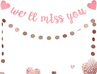 LaVenty Pink We Will Miss You Banner Office Work Party Retirement Party Decor Retirement Banner Going Away Party Decor Farewell Party Decorations Office Work Party Decoration