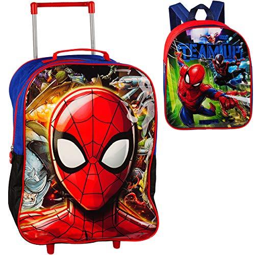 alles-meine.de GmbH 2 TLG. Set: Kinder Trolley + Rucksack - Spider-Man - wasserabweisend & beschichtet - für Jungen - Trolly mit Rollen - Koffertrolley Kindertrolley Case - Kinde..