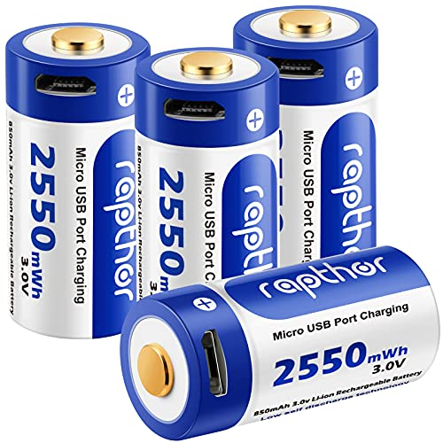 Rapthor Arlo Camera Rechargeable Batteries 850mAh Compatible with Arlo Wireless Security Camera CR123A Lithium Battery with Charger 4 Pack (USB-4)