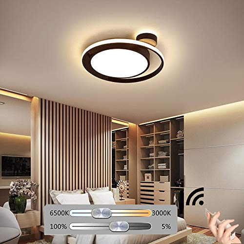 HIL Zwart Rond Scandinavisch Slaapkamer Plafondlamp Modern Simpel Sfeer Woonkamer Studeer Keuken Kinderkamer Decoratieve Verlichting Intelligente Afstandsbedieningslampen,55 * 5cm/52w