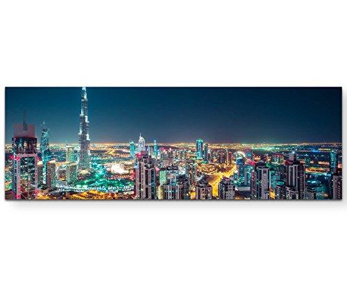 Paul Sinus Art Leinwandbilder   Bilder Leinwand 120x40cm Skyline bei Nacht Dubai – UAE