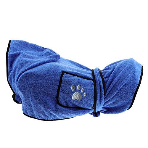 POPETPOP Albornoz de Perro de Microfibra Ajustable Albornoz de Perro Bata de Secado Rápido Pijama de Secado Rápido Toalla Abrigo de Bata de Mascota Súper Absorbente