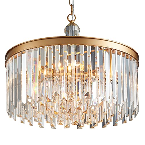 MEIXISUE Modern Crystal Luxury Chandelier Gold Metal and Clear Crystal 6-Lights Contemporary Pendant Light Fixtures for Kitchen Island Living Room Dining Room Bedroom