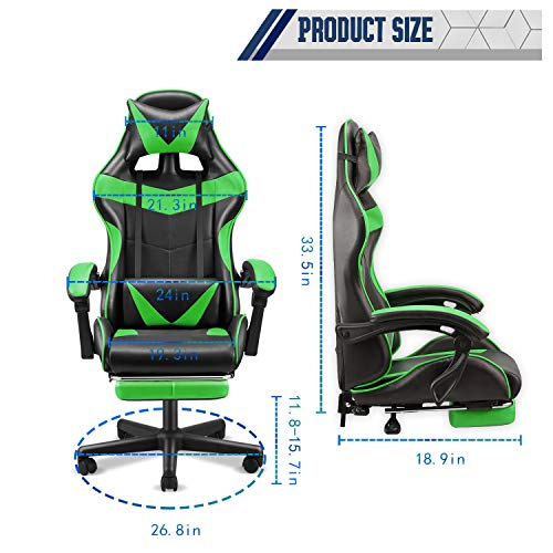 Soontrans High Back Computer Chair,Gaming Chair,Ergonomic Racing Style PC Office Chair,Desk Chair with Headrest Lumbar Support Footrest Adjustable Recliner Chair for Home,Office,Gaming Room (Green)