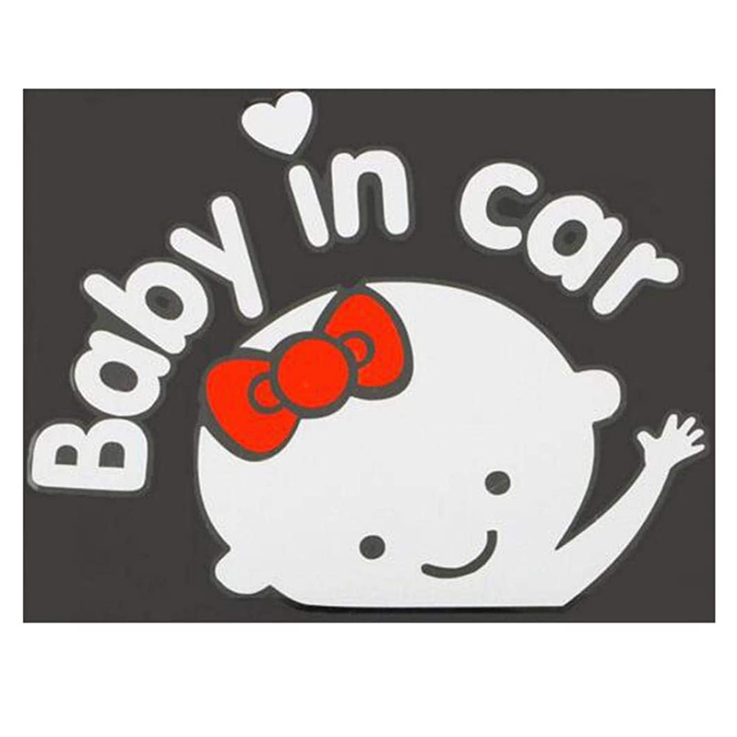 Car Styling 3D Cartoon Stickers Baby in Car Warming Car-Sticker Baby On Board Dewtreetali Female