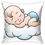 Funda de Almohada Baby Sleep On Cloud Impresión Digital Poliéster Colorido Estilo Personalizado Cuadrado Decoración del hogar 18 Pulgadas x 18 Pulgadas (Solo Cubierta)