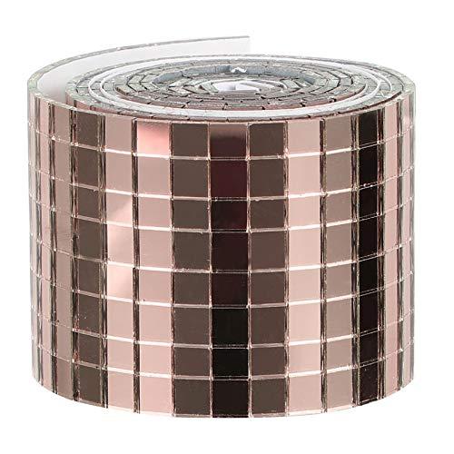WINOMO 1 Rolle Self- Adhesive Glas Mini Quadratischen Spiegel Mosaik Fliesen Aufkleber Rose Gold Mosaik Fliesen Spiegel Wand Aufkleber für DIY Handwerk Dekoration