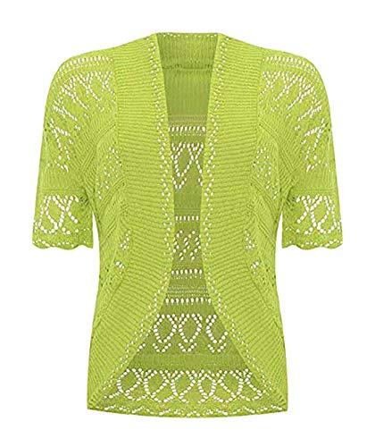 Moda Essentials Ladies Bolero Shrug Crochet Maglia Cardigan Top Womens Maniche Corte Bolero Shrug Verde mela 48-50