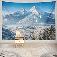 Afccia タペストリーポリエステルファブリック美しい山の風景と村と日の出スキースノーウォールハンギングタペストリーの装飾ベッドルームリビングルームパーティー寮