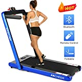 ANCHEER Folding Treadmill, Under Desk Smart Electric Treadmill with Remote Control and Bluetooth Speaker & LCD Monitor, 2 in 1 Walking Running Machine Trainer Equipment for Home Gym (Green)
