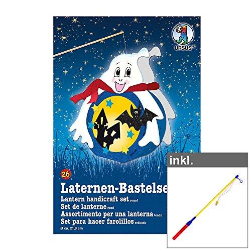 OLShop AG Laternen-Bastelset Gespenst inkl. LED Laternenstab ca. 50 cm, Lampion, Laternenumzug, Lampionumzug, Papierlampion, Bastelaterne, Papierlaterne