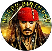 7.5 Inch Edible Cake Toppers – Pirates Of The Caribbean: Captain Jack Sparrow Themed Birthday Party Collection of Edible Cake Decorations