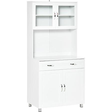 Armoire de cuisine contemporaine multi-rangement 2 placards portes grand tiroir coulissant panneaux MDF blanc