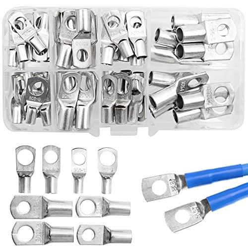 INHEMING Terminales de cable de tubo, 60 unidades, cobre galvanizado, conectores de crimpado en forma de anillo, 6 mm², 10 mm², 16 mm², 25 mm², tamaño 8