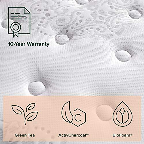 ZINUS 12 Inch Green Tea Cooling Swirl Memory Foam Hybrid Mattress / Pocket Innersprings for Motion Isolation / Edge Support, Queen, White