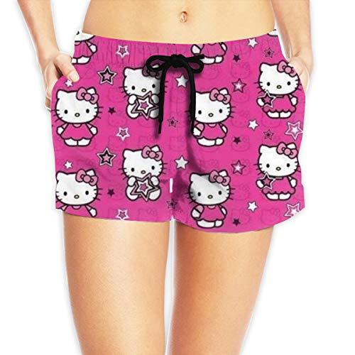 Hello Kitty Sommer Casual Shorts Damen Beach Pants Cool 3D Printed Beach ShortsL Weiß