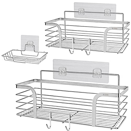 Yougai Shower Caddy Basket Shelf with Soap Dish and 4 Hooks, SUS304 Stainless Steel Shampoo Holder Bathroom Organizer No Drilling Adhesive Wall Mounted Storage Shelves for Kitchen, Bathroom, Toilet -2 Pack, Silver