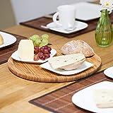 Relaxdays Servierplatte Bambus rund D ca. 33 cm Bambusteller zum Anrichten als Servierteller und Serviertablett für Wurst Käse Obst Gebäck Snacks uvm. nutzbar Snacktablett auch als Dekoteller, natur - 3