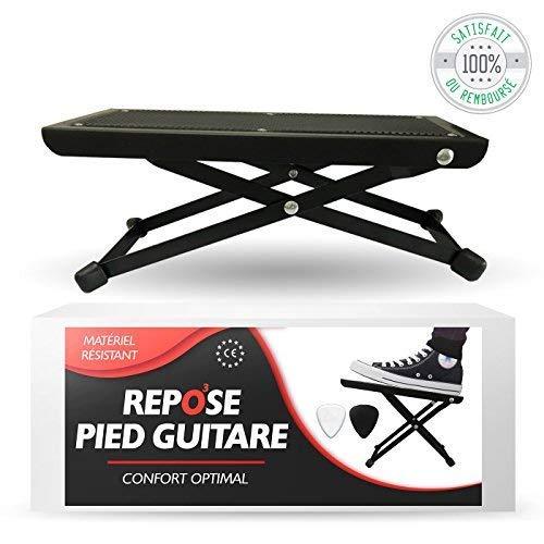O3 voetenbank gitaar // voor volwassenen en kinderen // gitaarvoetbank inclusief 2 plectra // in hoogte verstelbaar op 5 niveaus // robuust en antislip // gitaarvoetensteun
