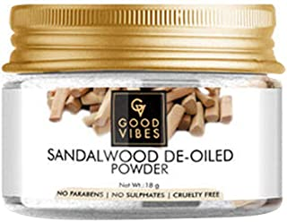Good Vibes Sandalwood De-Oiled Wood Powder Face Pack - 18 g - Skin Exfoliation for Acne, Ageing and Tan, Sun Protection - ...