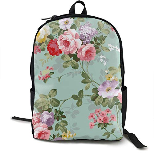 Fashion Rucksack Large Capacity antivol Multipurpose Carry-on Bag Sac à Dos for Sports Travel Bicycle - Shabby Chic Flowers Roses Pedals Dots Leaves Buds, Travel Hiking & Camping Rucksack