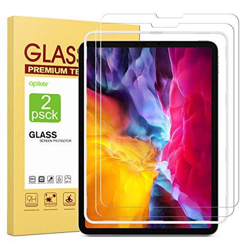 apiker [2 Stück Schutzfolie für iPad Air 4/iPad Pro 11, Panzerglas für iPad Air 4 (10.9 Zoll 2020)/iPad Pro 11 (2020und2018), 9H Festigkeit, Bläschenfrei, 2.5D abger&et Kante, mühelosanzubringen