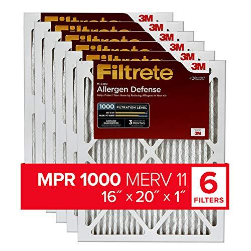Filtrete 16x20x1, AC Furnace Air Filter, MPR 1000, Micro Allergen Defense, 6-Pack (exact dimensions 15.69 x 19.69 x 0.81)