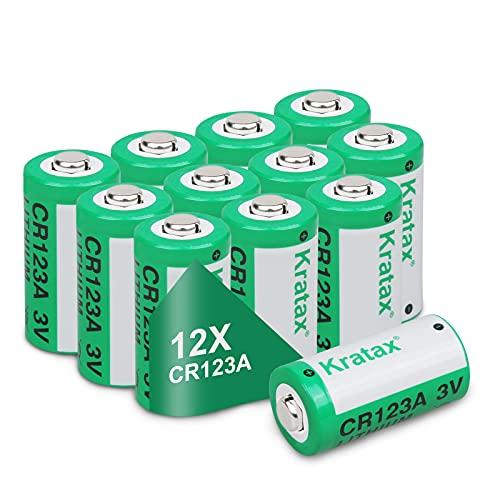 Kratax CR123A Batterien Lithium CR123 mit 1500 mAh 3.0V 12 Stück für Smart Home Taschenlampe Alarme etc