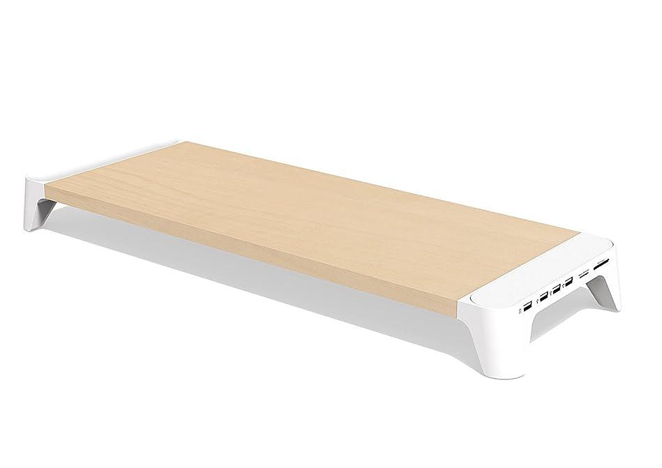 移行病チェスpallo WOODY Fast Charging Hub マルチモニタースタンド BNC-00301W-JP [ホワイト、急速USB充電+マルチUSBハブ付き]