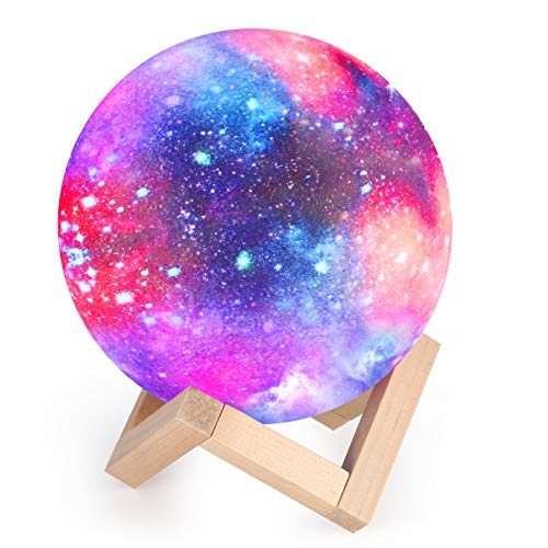 Moon Lamp Kids Night Light Galaxy Lamp 5.9 inch 16 Colors LED 3D Star Moon Light with Wood Stand, Touch & Remote Control USB Rechargeable Gift for Baby Girls Boys Birthday Home Decoration
