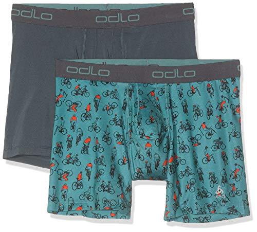 Preisvergleich Produktbild Odlo Herren Boxershorts SUW Bottom Boxer Active Everyday 2 Pack,  Arctic - Cycling AOP SS19 - Dark Slate,  M,  141002