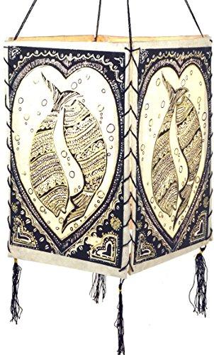 Guru-Shop Lokta Papier Hänge-Lampenschirm, Deckenleuchte aus Handgeschöpftem Papier - Lucky Fish Weiß, Lokta-Papier, 28x18x18 cm, Papierlampenschirme Quadratisch