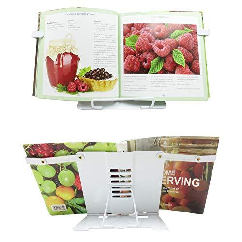 Cookbook Stand, Recipe Book Holder Stand for Kitchen, Desktop Book Stand-White