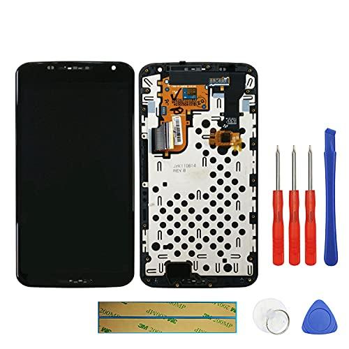 swark Super AMOLED Bildschirm Kompatibel mit Motorola Google Nexus 6 XT1100 XT1103 LCD Bildschirm Screen Reparatur (Schwarz mit Rahmen) + Werkzeug Opening Tools