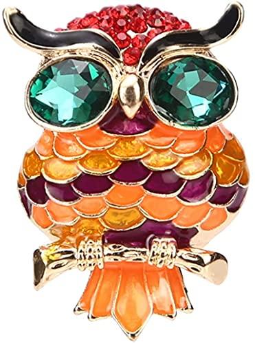 NZDY Cristal Verde Broche de Moda Pin Broches Búho Esmaltado Colorido Joyería Animal Pin Afortunado Del Regalo de Cumpleaños Nupcial Broche