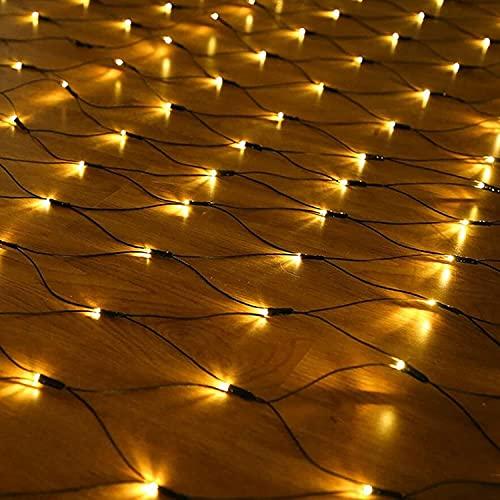 Luces de Halloween, 3M X 2M Solar Garden Net Lights String, 8 modos / 320 DIRIGIÓ for la decoración de la boda del cumpleaños de la fiesta de Navidad del patio exterior, blanco cálido, 3 * 2m / 320 lu