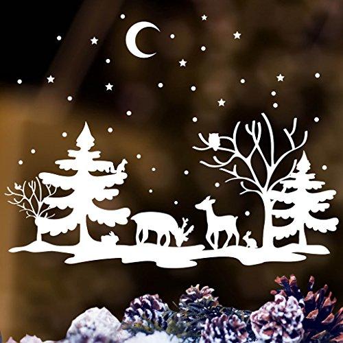 Fensterbild Winterlandschaft mit Tieren Fenster Dekoration weiß REH Hirsch Eule Hase und Eichhörnchen / / 55 cm hoch x 73 cm breit