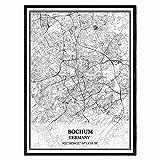 Bochum Deutschland Karte Wandkunst Leinwand drucken Poster