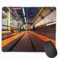 マウスパッド、ステッチエッジ付きマウスパッド、コンピューター用の地下鉄滑り止めラバーベースゲーミングマウスパッド