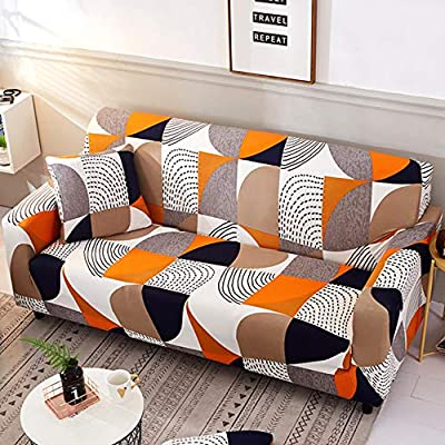 nordmiex Stretch Sofa Slipcovers Fitted Furniture Protector Printed Sofa Cover Stylish Fabric Couch Cover with 2 Pillowcases for 4 Cushion Couch(Sofa-4 Seater,Geometric Style 2)