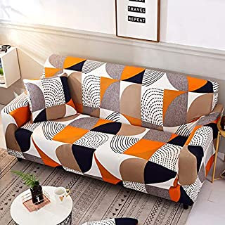 nordmiex Stretch Sofa Slipcovers Fitted Furniture Protector Printed Sofa Cover Stylish Fabric Couch Cover with 2 Pillowcases for 4 Cushion Couch(Sofa-4 Seater,Orange Geometric)