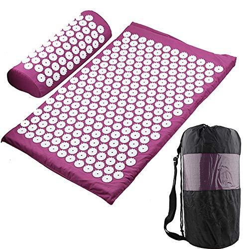Colchonetas de acupuntura para yoga, colchonetas de masaje de acupresión, colchonetas de acupuntura para yoga grandes y juegos de almohadas, utilizados para tratar el dolor de cuello y espalda, alivia