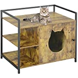 MSmask Large Cat Litter Box Enclosure, Hidden Litter Furniture Cabinet, Privacy Cat Washroom Bench, Cat House Table Nightstand with Iron and Wood Sturdy Structure Vintage