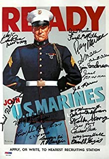 WWII USMC MARINES RECRUITMENT POSTER SIGNED 11X14 (SIGNED BY 23 VETERANS OF THE PACIFIC)