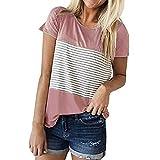 TWIFER Damen Kurzarm T Shirt Triple Color Block Streifen Tee Shirts Lässige Bluse