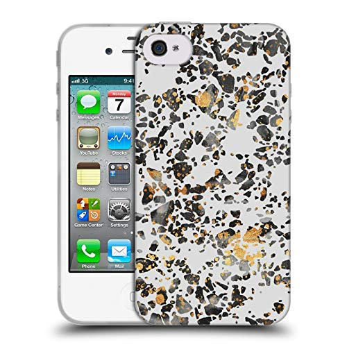 Head Case Designs Oficial Elisabeth Fredriksson Terrazo Moteado Dorado Brillos Carcasa de Gel de Silicona Compatible con Apple iPhone 4 / iPhone 4S
