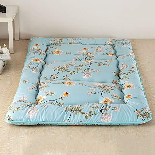MSM Japanisch Bodenmatratze Shikibuton,Gedruckt Boden Sleeping Pad,100% Baumwolle Futon Roll Up Tragbar Camping Matratze Blume 150x200cm/59x79inch