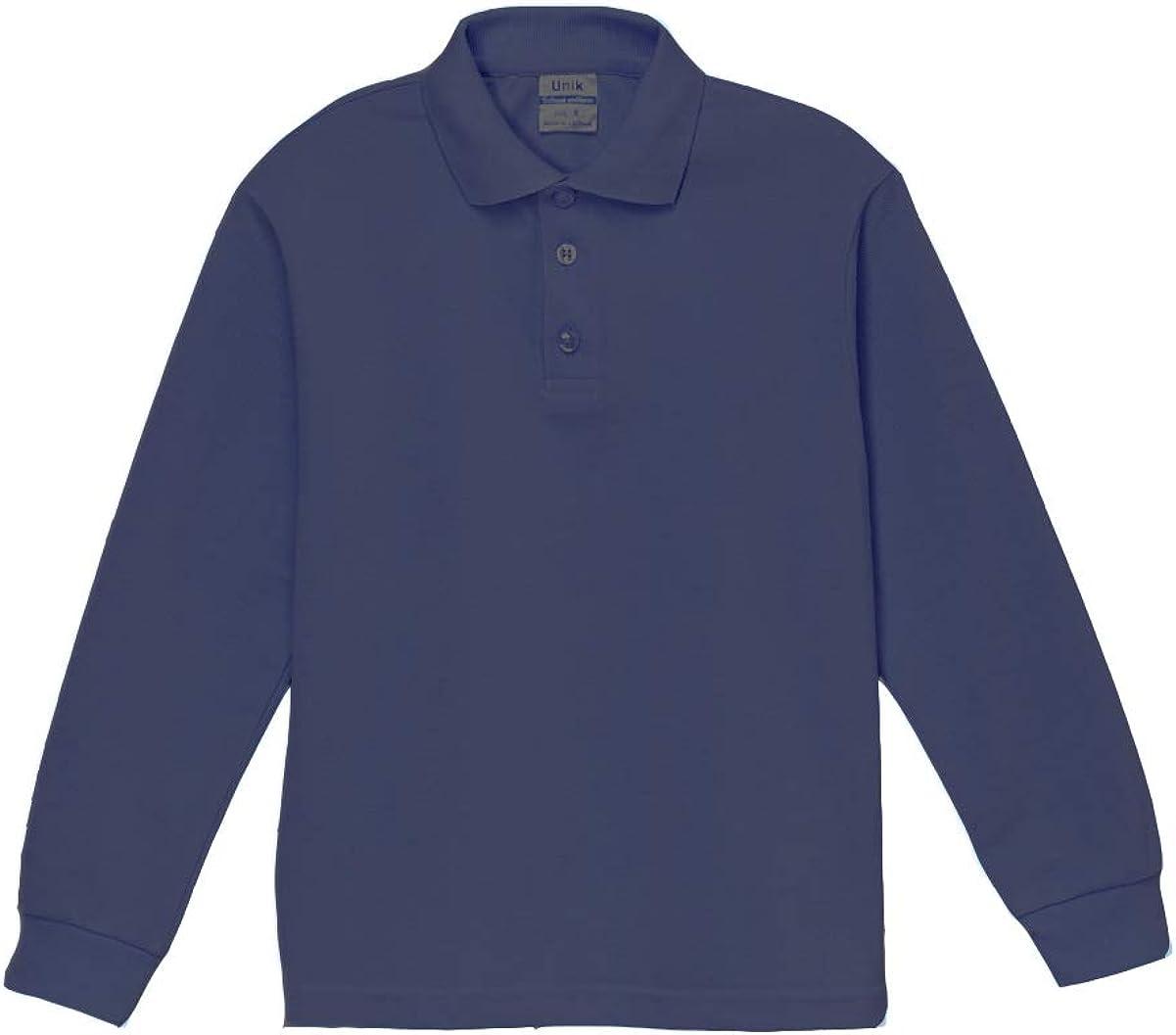 unik Boy's Uniform Pique Polo Shirt Long Sleeve, Navy White Sky Blue