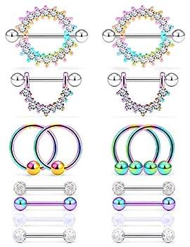Cisyozi 14G Nipple Rings for Women Nipple Piercing Nipple Jewelry Stainless Steel Screw Nipplerings Tongue Shield Ring Barbell Body Piercing Jewelry for Women men 9/16 Inch 14mm Rainbow
